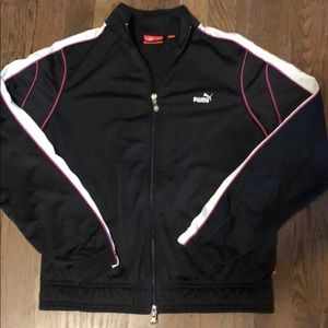 Girls Puma Track Jacket Pink Black and White Med